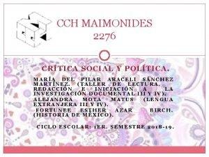 CCH MAIMONIDES 2276 CRTICA SOCIAL Y POLTICA MARA