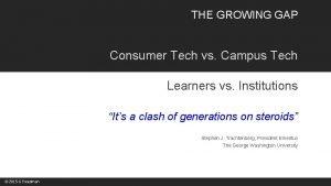 THE GROWING GAP Consumer Tech vs Campus Tech