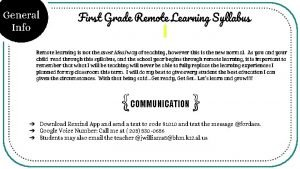 General Info First Grade Remote Learning Syllabus Remote