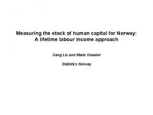 Measuring the stock of human capital for Norway