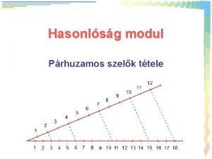 Hasonlsg modul Prhuzamos szelk ttele Prhuzamos szelk ttele