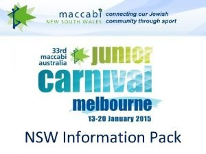 NSW Information Pack NSW Management Team NSW Team