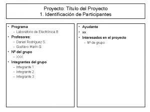 Proyecto Ttulo del Proyecto 1 Identificacin de Participantes