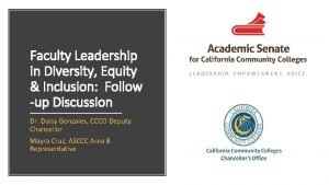 Faculty Leadership in Diversity Equity Inclusion Follow up