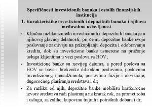 Specifinosti investicionih banaka i ostalih finansijskih institucija 1
