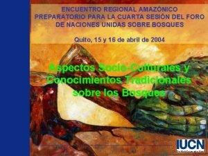 ENCUENTRO REGIONAL AMAZNICO PREPARATORIO PARA LA CUARTA SESIN