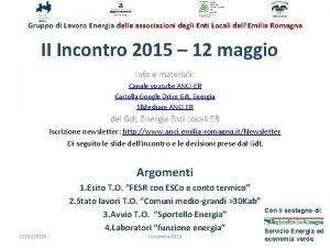 Gruppo di Lavoro Energia delle associazioni degli Enti