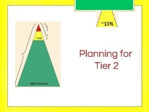 Planning for Tier 2 TIER 1 2 or