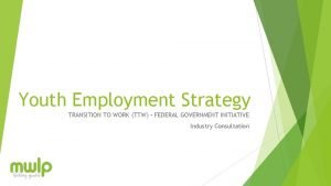 Youth Employment Strategy TRANSITION TO WORK TTW FEDERAL