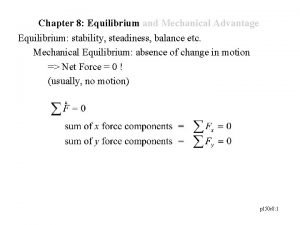 Chapter 8 Equilibrium and Mechanical Advantage Equilibrium stability
