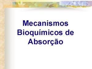Mecanismos Bioqumicos de Absoro Mecanismos bioqumicos de absoro