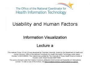 Usability and Human Factors Information Visualization Lecture a