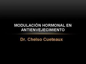 MODULACIN HORMONAL EN ANTIENVEJECIMIENTO Dr Chelso Cueteaux 1