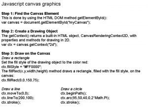Javascript canvas graphics Step 1 Find the Canvas