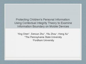 Protecting Childrens Personal Information Using Contextual Integrity Theory