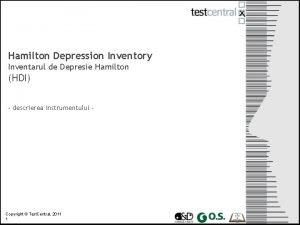 Hamilton Depression Inventory Inventarul de Depresie Hamilton HDI