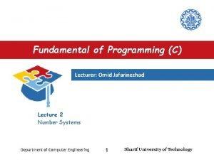 Fundamental of Programming C Lecturer Omid Jafarinezhad Lecture