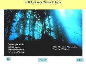 NOAA Grants Online Tutorial To complete this tutorial