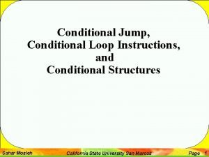 Conditional Jump Conditional Loop Instructions and Conditional Structures