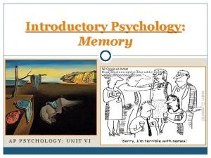 Introductory Psychology Memory AP PSYCHOLOGY UNIT VI Introduction