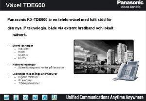 Vxel TDE 600 Panasonic KXTDE 600 r en