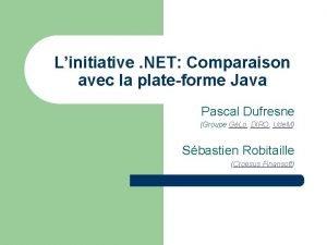 Linitiative NET Comparaison avec la plateforme Java Pascal