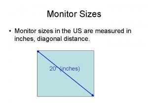 Monitor Sizes Monitor sizes in the US are