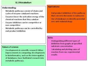 8 1 Metabolism Understanding Metabolic pathways consist of