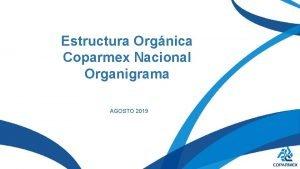 Estructura Orgnica Coparmex Nacional Organigrama AGOSTO 2019 Asamblea