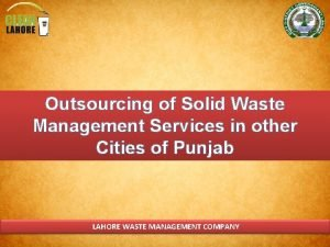 Outsourcing of Solid Waste Management Services in other