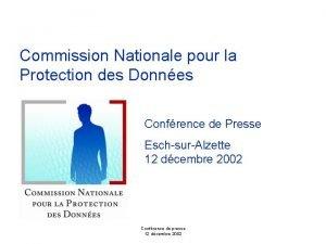 Commission Nationale pour la Protection des Donnes Confrence