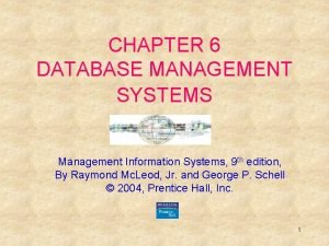CHAPTER 6 DATABASE MANAGEMENT SYSTEMS Management Information Systems