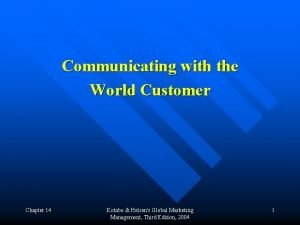Communicating with the World Customer Chapter 14 Kotabe