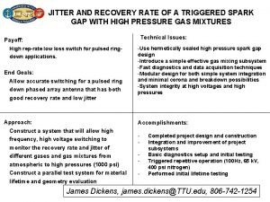 JITTER AND RECOVERY RATE OF A TRIGGERED SPARK