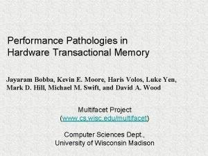 Performance Pathologies in Hardware Transactional Memory Jayaram Bobba