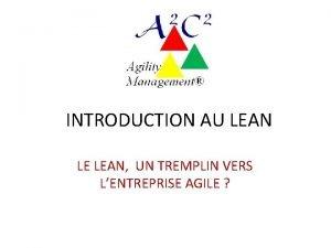 INTRODUCTION AU LEAN LE LEAN UN TREMPLIN VERS