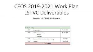 CEOS 2019 2021 Work Plan LSIVC Deliverables Session