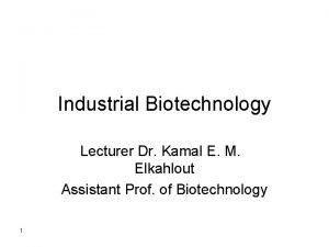 Industrial Biotechnology Lecturer Dr Kamal E M Elkahlout