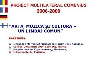 PROIECT MULTILATERAL COMENIUS 2006 2009 ARTA MUZICA I