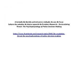 A tomada de deciso policial para a reduo