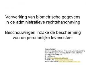 Verwerking van biometrische gegevens in de administratieve rechtshandhaving
