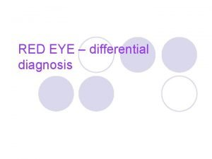 RED EYE differential diagnosis RED EYE l Red