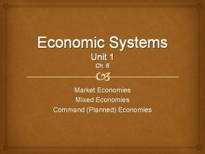 Economic Systems Unit 1 Ch 6 Market Economies