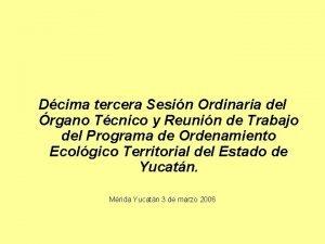 Dcima tercera Sesin Ordinaria del rgano Tcnico y