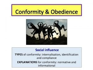Conformity Obedience Social influence TYPES of conformity internalisation