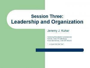 Session Three Leadership and Organization Jeremy J Kuhar