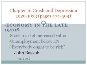 Chapter 16 Crash and Depression 1929 1933 pages