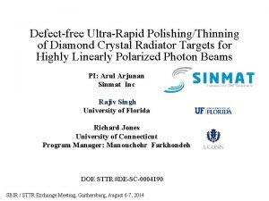 Defectfree UltraRapid PolishingThinning of Diamond Crystal Radiator Targets