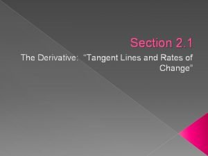 Section 2 1 The Derivative Tangent Lines and