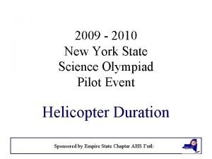 2009 2010 New York State Science Olympiad Pilot